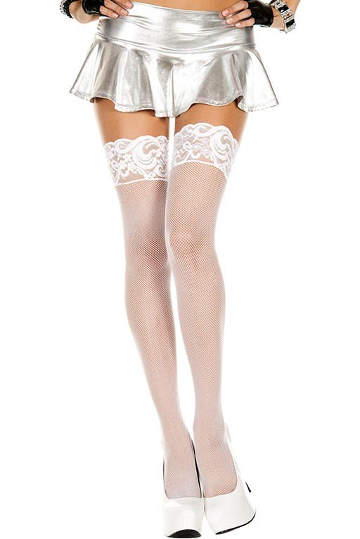Music Legs Fishnet Thigh High with Silicon Lace Top White