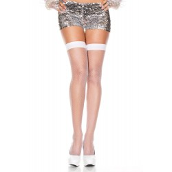 Music Legs Spandex Fishnet Thigh Hi White