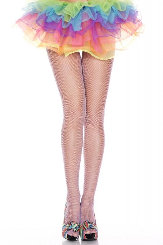 Music Legs Glittery Fishnet Spandex Pantyhose White / Silver