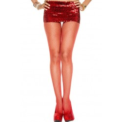 Music Legs Glittery Fishnet Spandex Pantyhose Red / Silver