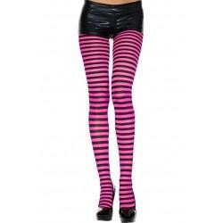Music Legs Striped Pantyhose Hot Pink / Black