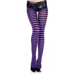 Music Legs Striped Pantyhose Purple and Black