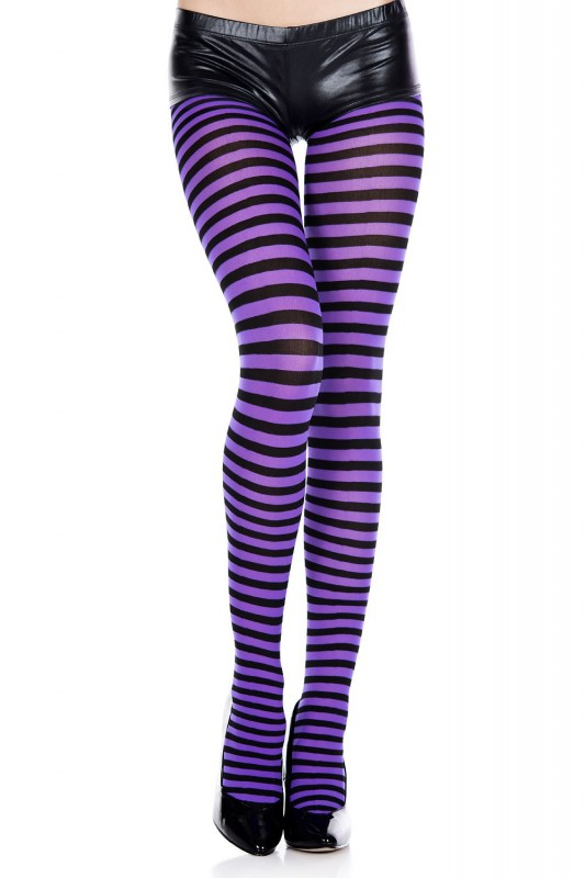 Music Legs Striped Pantyhose Purple and Black