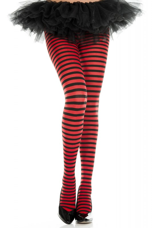 Music Legs Striped Pantyhose Red / Black