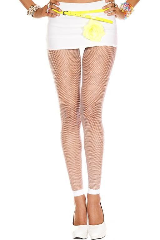 Music Legs Diamond Net Spandex Pantyhose White