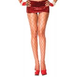 Music Legs Diamond Net Spandex Pantyhose Red