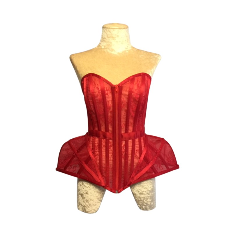 Lace Hip Corset Red