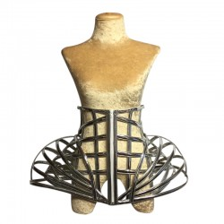 Gaga Under Bust PVC Cage Corset Dual Layer Silver