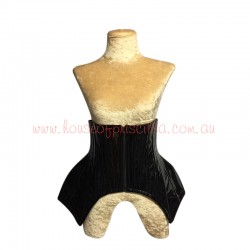 PVC Under Bust Hip Corset with Lace Up Back Black