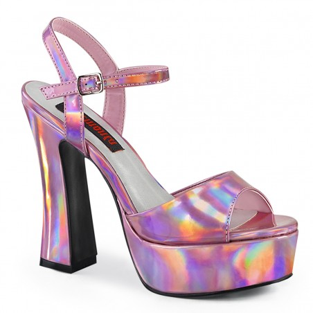 Pleaser Demonia Dolly 09 Platform Strap Sandal Pink Hologram