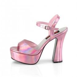 Demonia Dolly 09 Platform Strap Sandal Pink Hologram