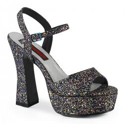 Demonia Dolly 09 Platform Strap Sandal Black Multi Glitter