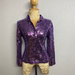 Children's Sequin Button Jacket - Purple