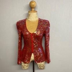 Sequin Zip Jacket - Red
