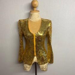 Sequin Zip Jacket - Gold