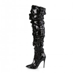 Pleaser Courtly 3011 Thigh High Boot Black Sequin