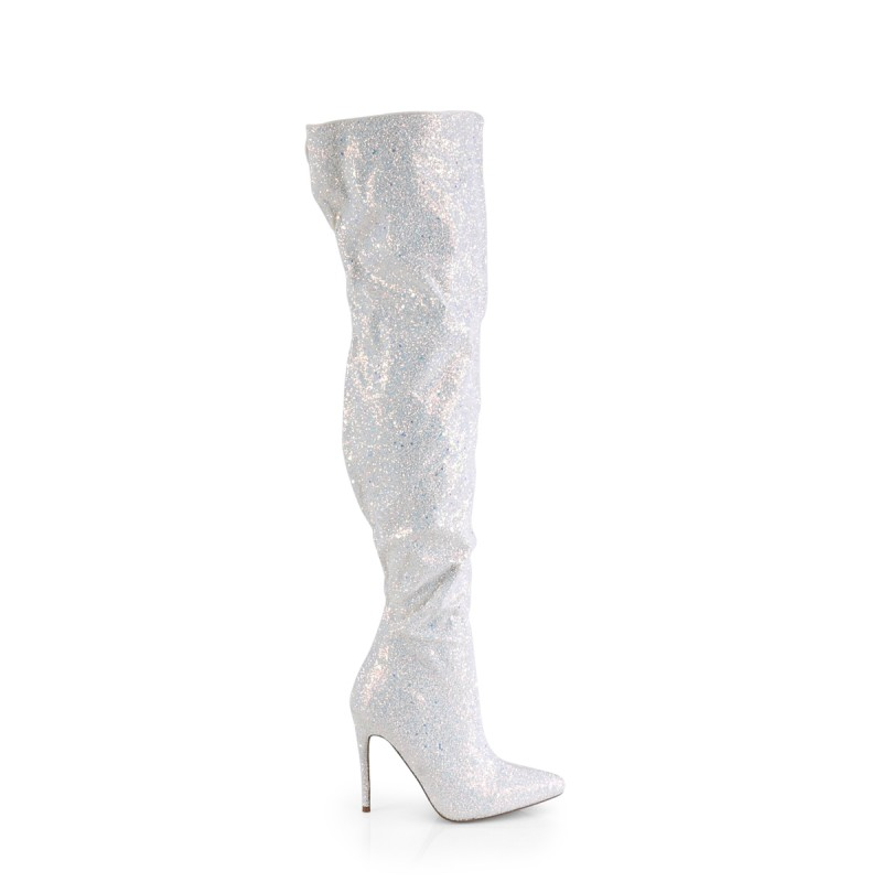 Pleaser Courtly 3015 Thigh High Boot White Multi Glitter