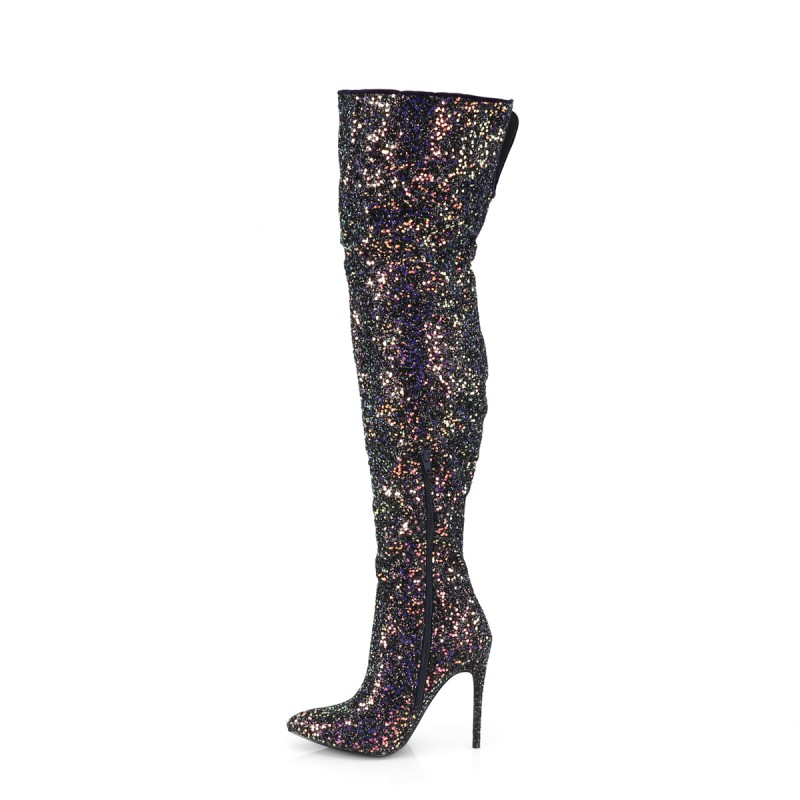 Pleaser Courtly 3015 Thigh High Boot Black Multi Glitter