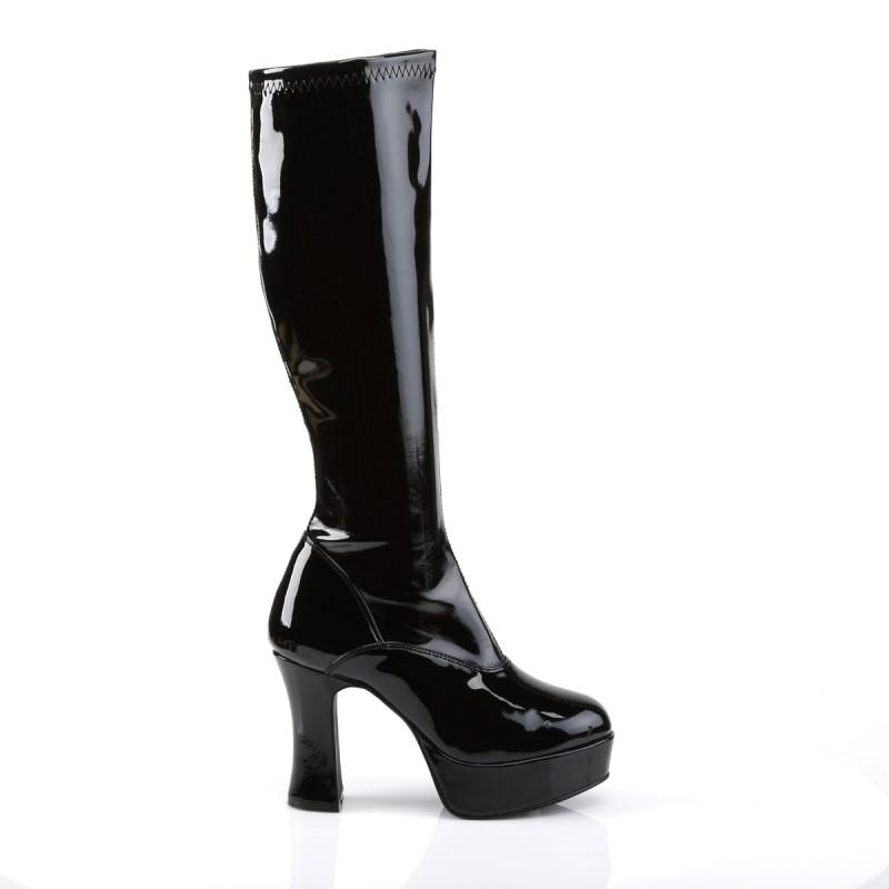Exotica 2000 Gogo Boot Black Patent Funstama
