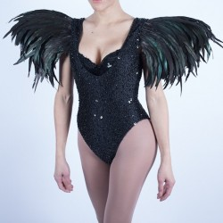 Sequin Beaded Bodysuit with Feather Shoulder Black