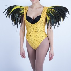 Sequin Beaded Bodysuit with Feather Shoulder Gold