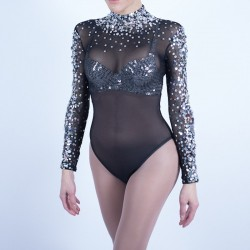 Black Mesh Bodysuit with Diamante and Silver Beaded Applique