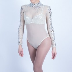 Nude Mesh Bodysuit with Diamante and Silver Beaded Applique