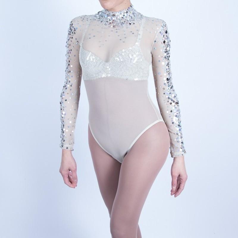 Sequin Beaded Mesh Bodysuit Skintone