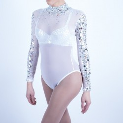 White Mesh Bodysuit with Silver Beaded Applique