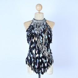 Black & Silver Diamond Cut Sequin Bodysuit with Mesh Insert