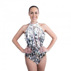 Diamond Cut Sequin Bodysuit Silver