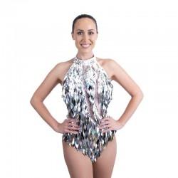 Silver Diamond Cut Sequin Bodysuit with Mesh Insert