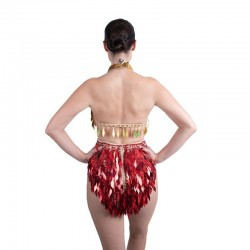 Diamond Cut Sequin Bodysuit Gold and Red