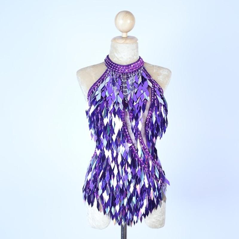 Diamond Cut Sequin Bodysuit Purple and Silver