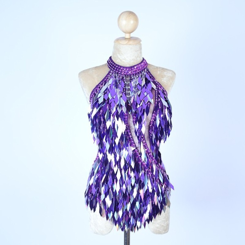 Purple and Silver Diamond Cut Sequin Bodysuit with Mesh Insert