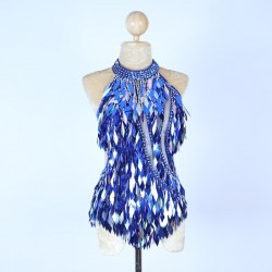 Diamond Cut Sequin Bodysuit Royal Blue