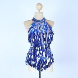 Royal Blue Diamond Cut Sequin Bodysuit with Mesh Insert