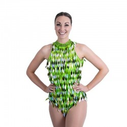 Lime Green and Silver Keyhole Back Diamond Cut Sequin Bodysuit