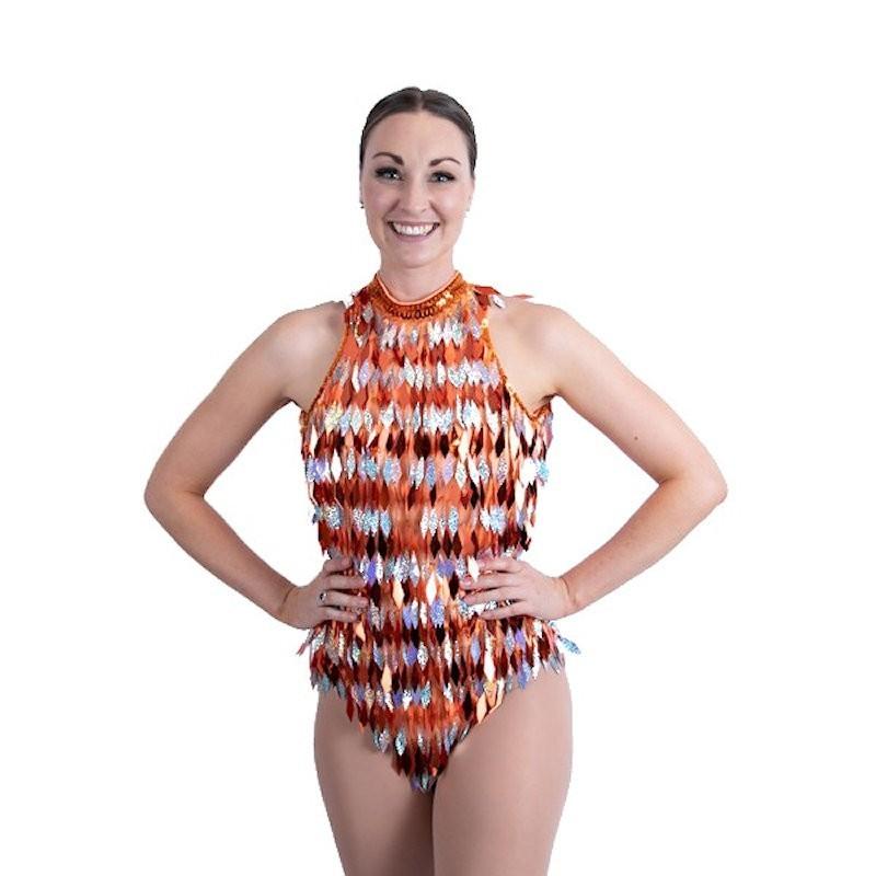 Diamond Sequin Keyhole Bodysuit Orange