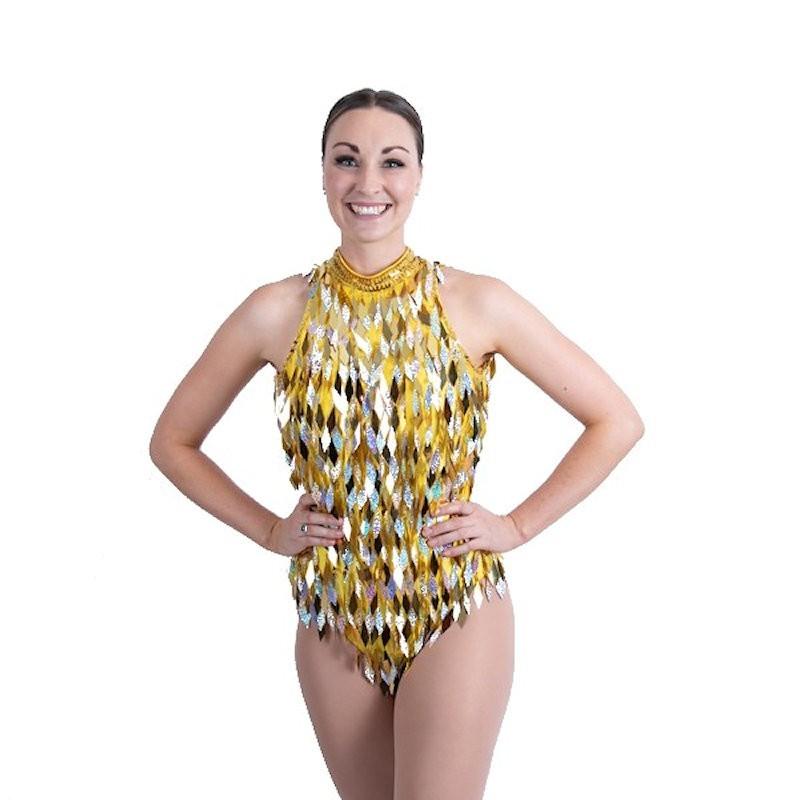 Yellow Keyhole Back Diamond Cut Sequin Bodysuit