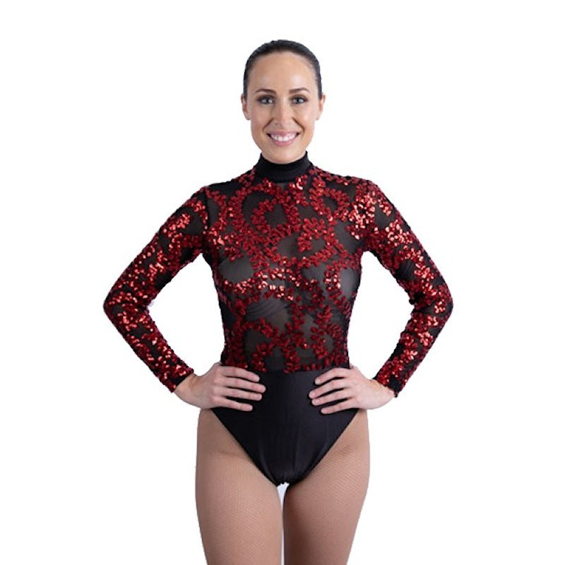 Sequin Lace High Waist Leotard Red and Black
