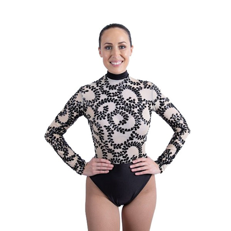 Sequin Lace High Waist Leotard Black and Nude