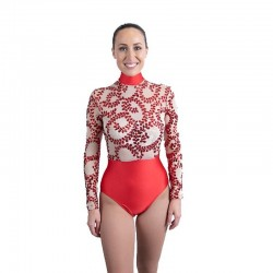 Sequin Lace High Waist Leotard Red and Nude