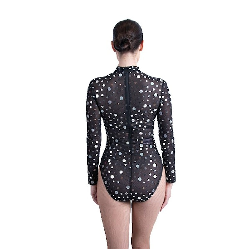 Black Mesh Bodysuit with Silver Coin Sequin Applique