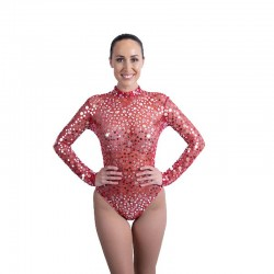 Red Mesh Bodysuit with Silver Coin Sequin Applique
