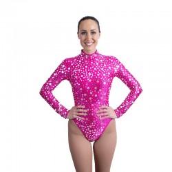 Sequin Dot Lycra Bodysuit Pink