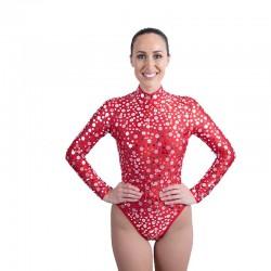 Sequin Dot Mesh Bodysuit Bright Red