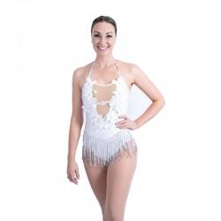 Sequin Lace Mesh Bodysuit White