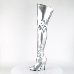 Pleaser Seduce 3000 Thigh High Stretch Boot Faux Leather Silver