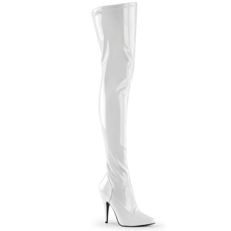 Pleaser Seduce 3000 Thigh High Stretch Boot White Patent